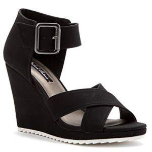 Michael Antonio Black Women Gratia Wedge Sandal